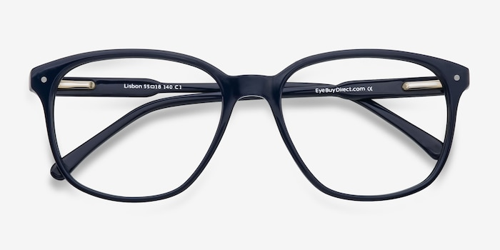 Lisbon Navy Acetate Eyeglass Frames from EyeBuyDirect, Closed View