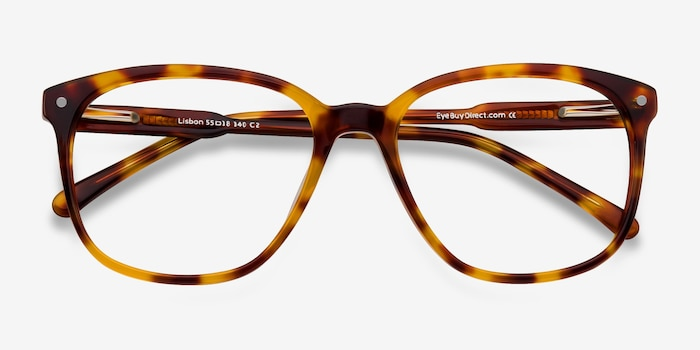 Lisbon Tortoise Acetate Eyeglass Frames from EyeBuyDirect, Closed View