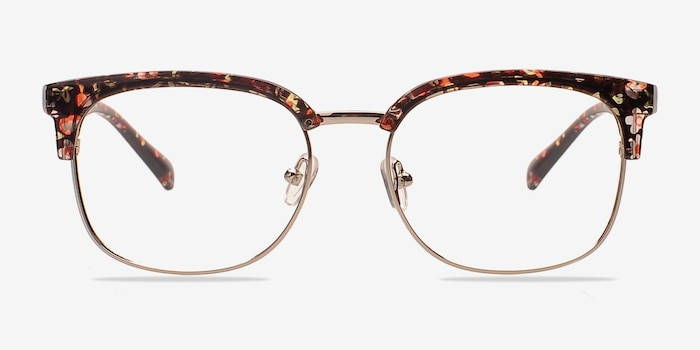 Charleston Silver/Floral Plastic Eyeglass Frames from EyeBuyDirect, Front View