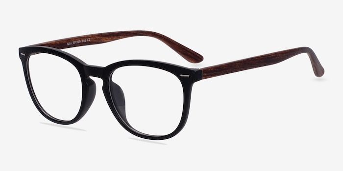 Yolo Black/Brown Plastic Eyeglass Frames from EyeBuyDirect, Angle View