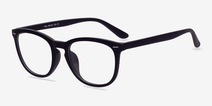 Yolo Matte Navy Plastic Eyeglass Frames from EyeBuyDirect, Angle View