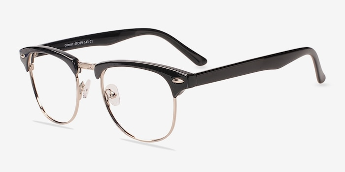 Coexist Black/Silver Plastic Eyeglass Frames from EyeBuyDirect, Angle View