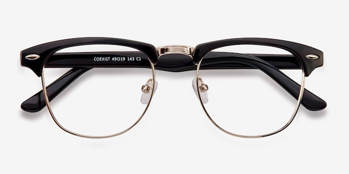 Coexist Black/Silver Plastic Eyeglass Frames from EyeBuyDirect, Closed View