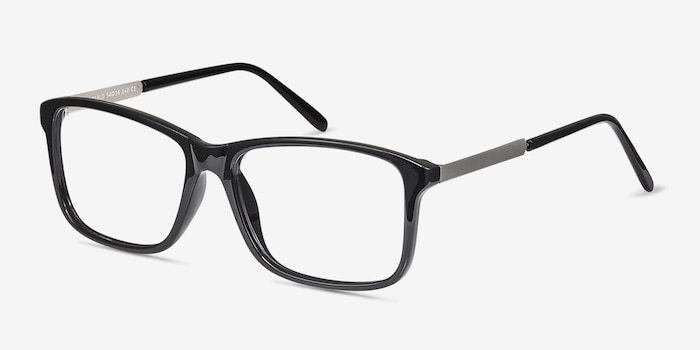 Pablo Black Plastic Eyeglass Frames from EyeBuyDirect, Angle View