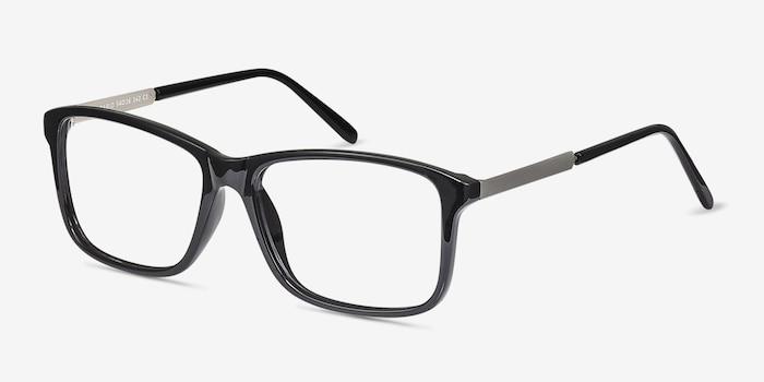 Pablo Noir Plastique Montures de Lunettes d'EyeBuyDirect, Vue d'Angle