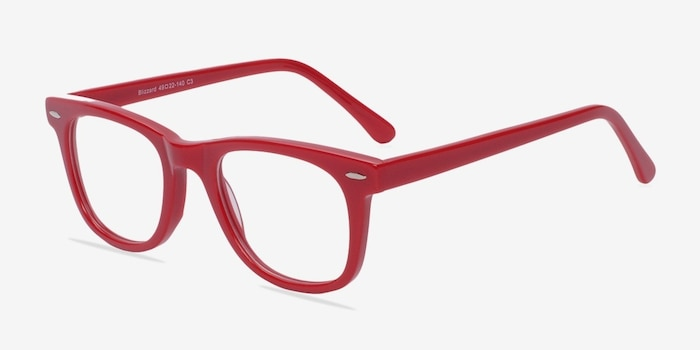 Blizzard Raspberry Acetate Eyeglass Frames from EyeBuyDirect, Angle View