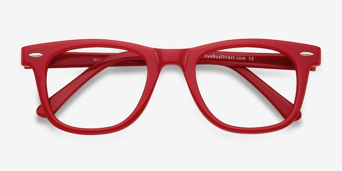 Blizzard Raspberry Acetate Eyeglass Frames from EyeBuyDirect, Closed View