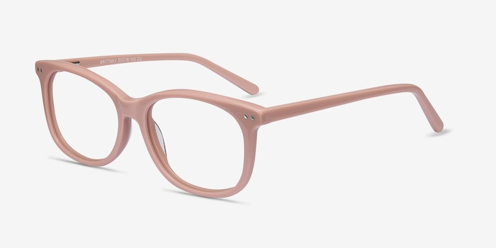 Brittany Pink Acetate Eyeglass Frames from EyeBuyDirect, Angle View