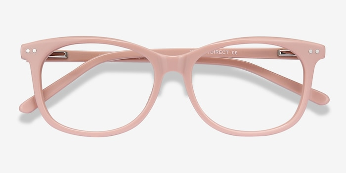 Brittany Pink Acetate Eyeglass Frames from EyeBuyDirect, Closed View