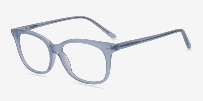 Brittany Clear/Blue Acetate Eyeglass Frames from EyeBuyDirect, Angle View
