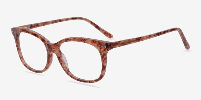 Brittany Brown/Floral Acetate Eyeglass Frames from EyeBuyDirect, Angle View