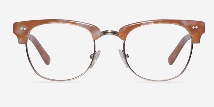 Concorde Brown/Silver Acetate Eyeglass Frames from EyeBuyDirect, Front View
