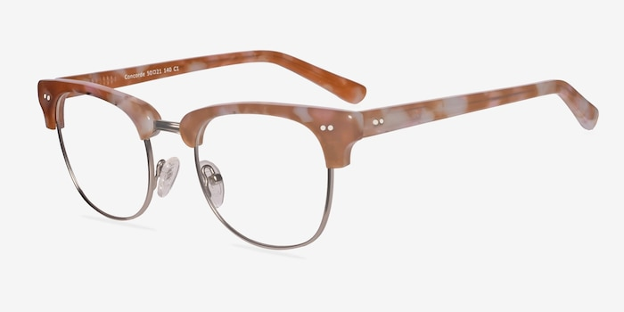 Concorde Brown/Silver Acetate Eyeglass Frames from EyeBuyDirect, Angle View