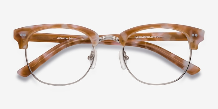 Concorde Brown/Silver Acetate Eyeglass Frames from EyeBuyDirect, Closed View