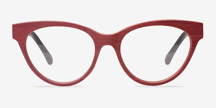Jane Birkin Berry Red Wood-texture Eyeglass Frames from EyeBuyDirect, Front View