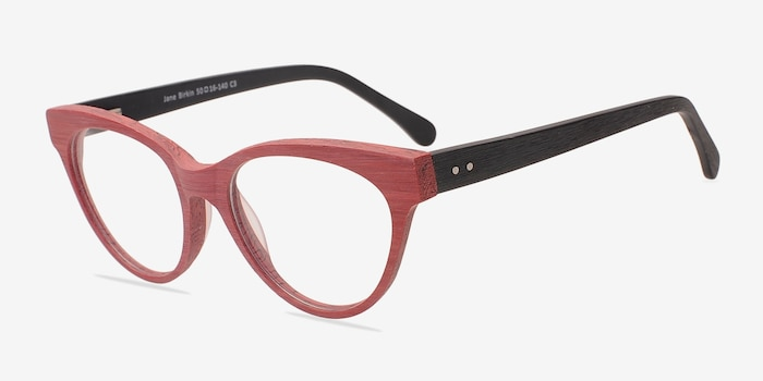 Jane Birkin Berry Red Wood-texture Eyeglass Frames from EyeBuyDirect, Angle View
