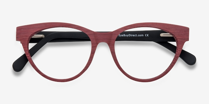 Jane Birkin Berry Red Wood-texture Eyeglass Frames from EyeBuyDirect, Closed View