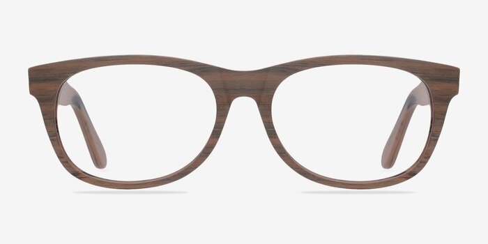 Panama Brown/Striped Acetate Eyeglass Frames from EyeBuyDirect, Front View