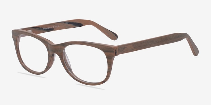 Panama Brown/Striped Acetate Eyeglass Frames from EyeBuyDirect, Angle View