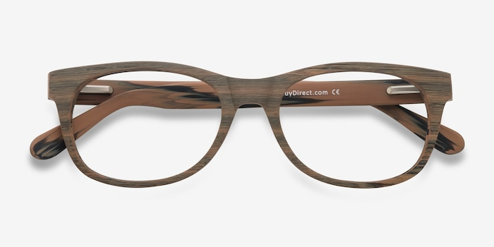 Panama Brown/Striped Acetate Eyeglass Frames from EyeBuyDirect, Closed View