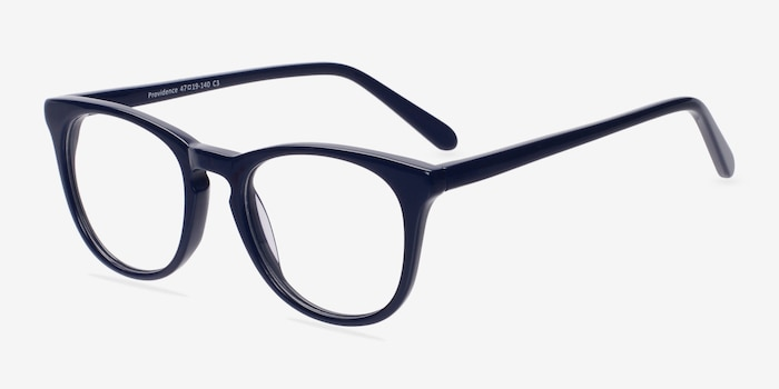 Providence Navy Acetate Eyeglass Frames from EyeBuyDirect, Angle View