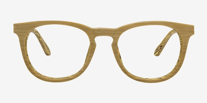 Providence Yellow Wood-texture Eyeglass Frames from EyeBuyDirect, Front View