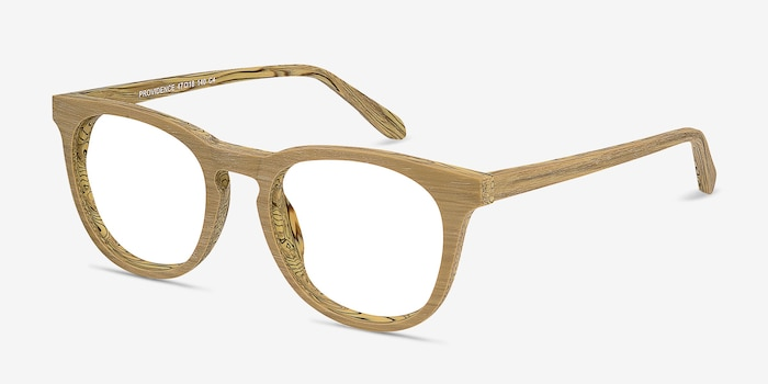 Providence Yellow Wood-texture Eyeglass Frames from EyeBuyDirect, Angle View