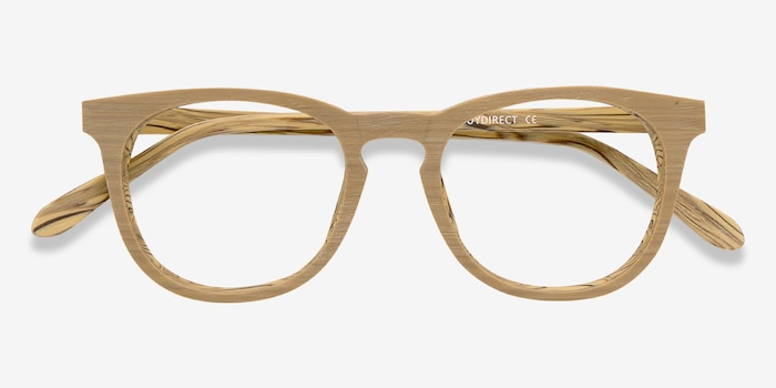 Providence Yellow Wood-texture Eyeglass Frames from EyeBuyDirect, Closed View
