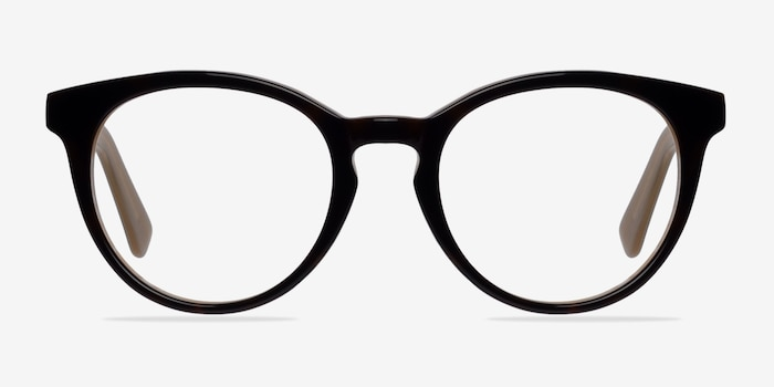 Stanford Brown Acetate Eyeglass Frames from EyeBuyDirect, Front View