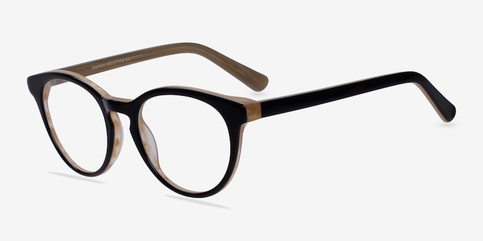 Stanford Brown Acetate Eyeglass Frames from EyeBuyDirect, Angle View