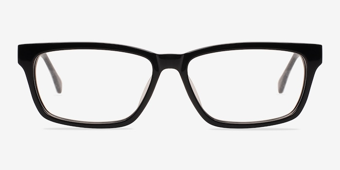 Seattle Black Acetate Eyeglass Frames from EyeBuyDirect, Front View