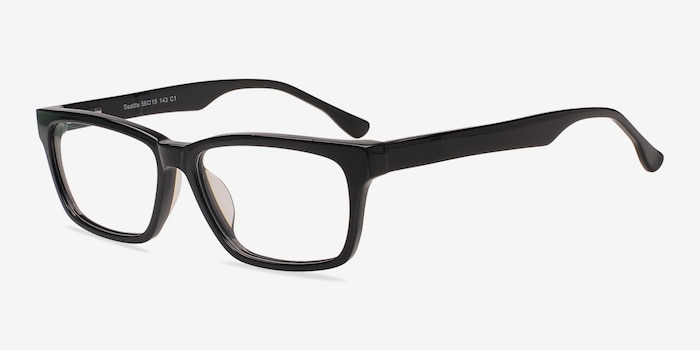 Seattle Black Acetate Eyeglass Frames from EyeBuyDirect, Angle View