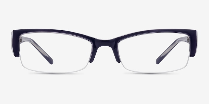 Diane Navy Plastic Eyeglass Frames from EyeBuyDirect, Front View