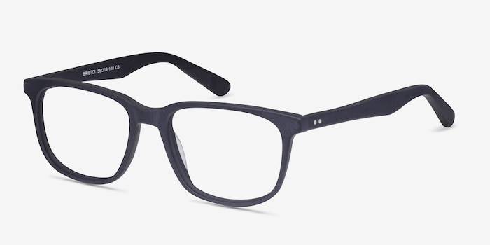 Bristol Matte Navy Acetate Eyeglass Frames from EyeBuyDirect, Angle View