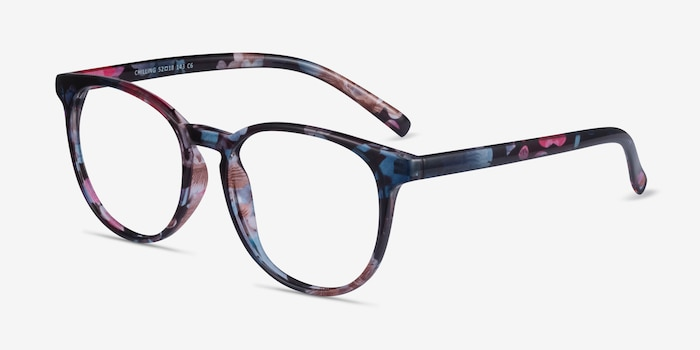 Chilling Pink/Floral Plastic Eyeglass Frames from EyeBuyDirect, Angle View