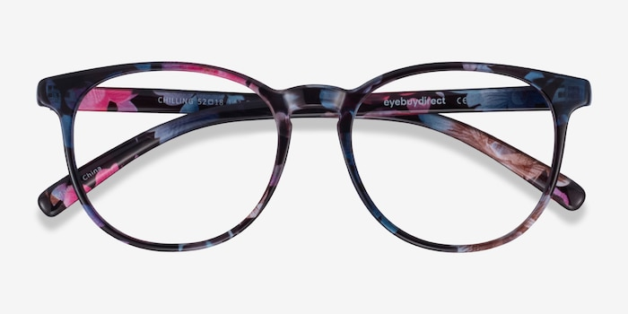 Chilling Pink/Floral Plastic Eyeglass Frames from EyeBuyDirect, Closed View