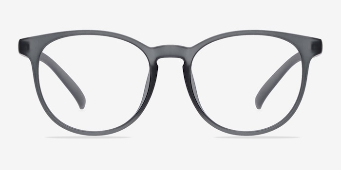 Chilling Matte Gray Plastic Eyeglass Frames from EyeBuyDirect, Front View