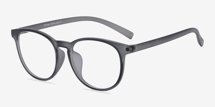 Chilling Matte Gray Plastic Eyeglass Frames from EyeBuyDirect, Angle View
