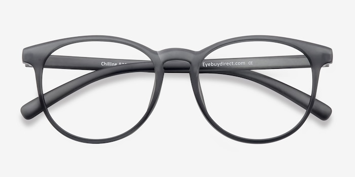 Chilling Matte Gray Plastic Eyeglass Frames from EyeBuyDirect, Closed View