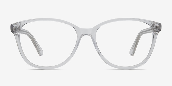 Hepburn Clear/White Acetate Eyeglass Frames from EyeBuyDirect, Front View