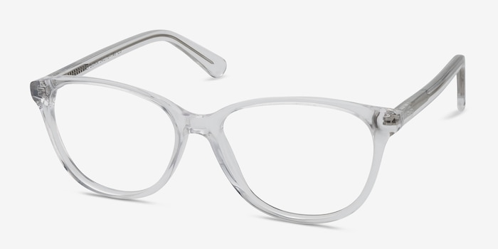 Hepburn Clear/White Acetate Eyeglass Frames from EyeBuyDirect, Angle View