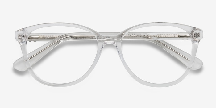 Hepburn Clear/White Acetate Eyeglass Frames from EyeBuyDirect, Closed View