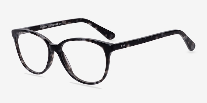 Hepburn Gray/Floral Acetate Eyeglass Frames from EyeBuyDirect, Angle View