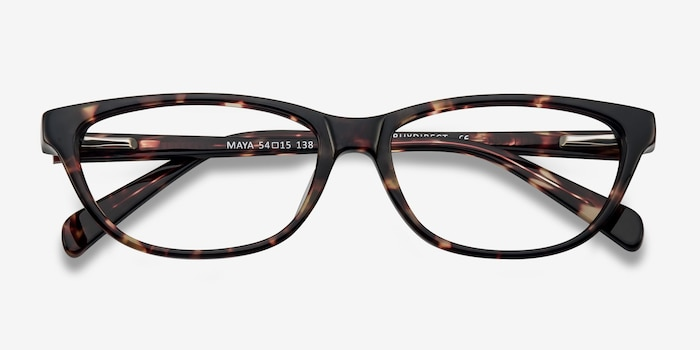 Maya Tortoise Acetate Eyeglass Frames from EyeBuyDirect, Closed View