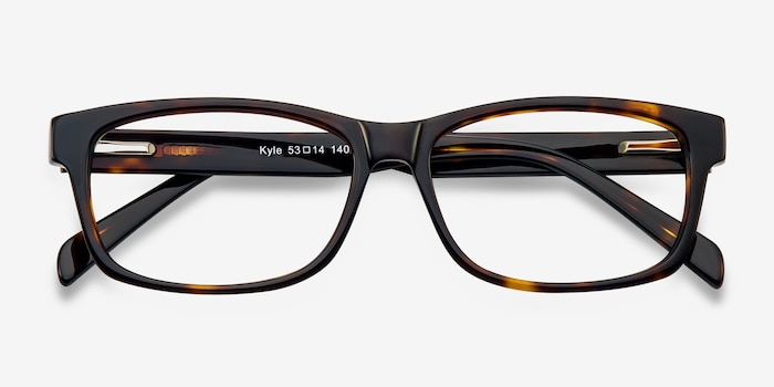 Kyle Brown/Tortoise Acetate Eyeglass Frames from EyeBuyDirect, Closed View