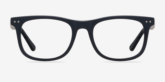 Montreal Matte Navy Acetate Eyeglass Frames from EyeBuyDirect, Front View