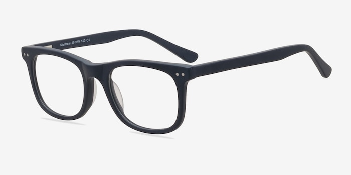Montreal Matte Navy Acetate Eyeglass Frames from EyeBuyDirect, Angle View