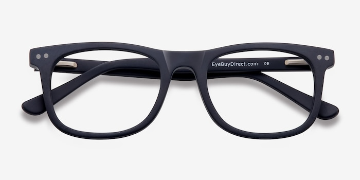 Montreal Matte Navy Acetate Eyeglass Frames from EyeBuyDirect, Closed View