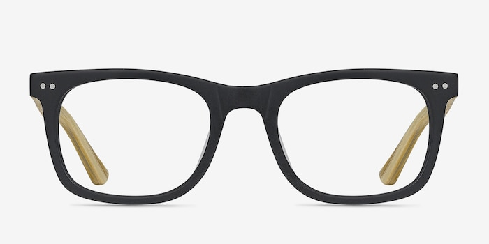 Montreal Matte Black Wood-texture Eyeglass Frames from EyeBuyDirect, Front View