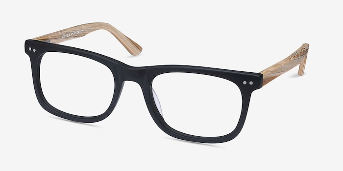 Montreal Matte Black Wood-texture Eyeglass Frames from EyeBuyDirect, Angle View